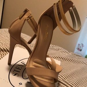 Nude/Gold ankle strap sandal heels
